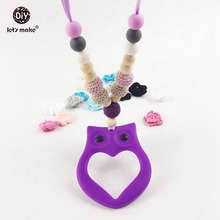 Let's Make Silicone Baby Teether Necklace New Owl Wooden Beads Crochet Beads Jewelry Safe Chewable Beads Baby Teether Toy