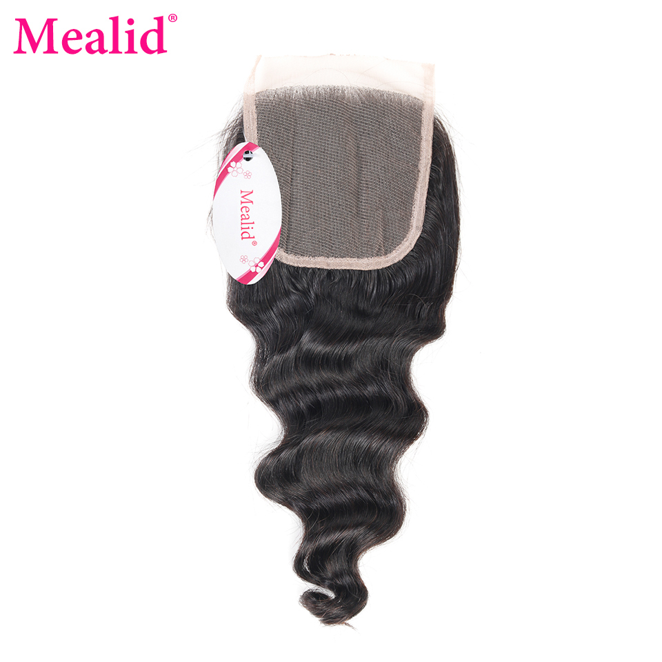 "[Mealid] Brazilian Loose Wave Closure Free Part 1 Piece Only Remy Natural Color 8""-20"" Human Hair Lace Closure(China)"