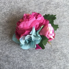 Pink Peony 2 Color to Pick Up Wedding Best Man Boutonniere Girl Bridal Wrist Corsage Pin Groom Groomsman Party Prom Flowers