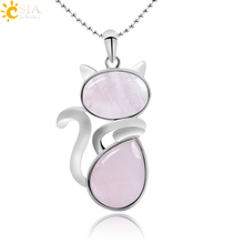 Buy CSJA Natural Stone Cute Cat Shape Pendant Fit Necklace Pink Quartz Black Onyx Beads Chain Girls Women Jewelry Gift F066 for $2.36 in AliExpress store