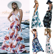 Buy Floral print halter chiffon long dress Women backless 2017 maxi dresses vestidos Sexy white split beach summer dress