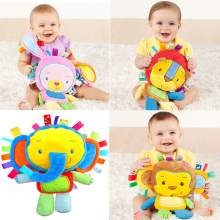 Infant Soft Appease Playmate Calm Doll Baby Toy with BB Ring Rattle Animal Monkey/Elephant/Lion/Rabbit/Pig/Sheep/Chick Plush Toy(China)