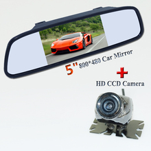 "Universal Car reversing camera and mirror kit 5"" car mirror glass lcd screen 170 degree glass lens matel shell material"