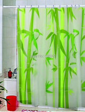Green Bamboo Natural Landscape Design Bathroom Shower CurtainEVA shower curtain 12 Hooks 180 * 180cm