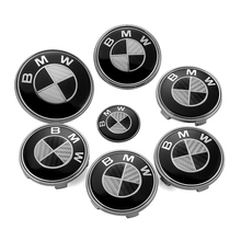 7PCS/lot BMW Carbon Fiber Front Emblem+Car Steering Wheel Cap+ Wheel Hub Cap Head Hood Logo Badge BMW Trunk Emblem Cover Sticker(China)