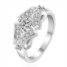 Hot White Sapphire CZ Wedding Rings For Women Bridal 925 Silver Filled Simulated Diamond Finger Ring Birthday Party Gift R199