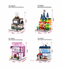 4 Sets Mini Street  Model Toy Building Block Toy Store Beauty Shop Jewelry Store Pet Shop DIY Bricks kid gift