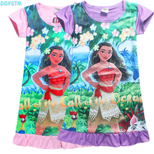 4-10Years 2017 New Cartoon Trolls summer children kids girl tees dress fashion moana clothing cute design girls princess dresses(China)