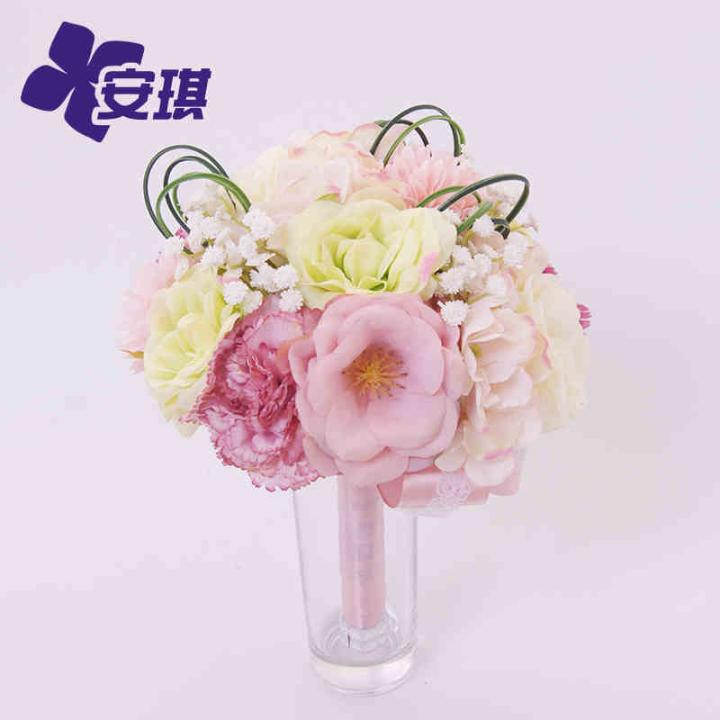 Fresh Pink Green Wdding Bouquet Bridal Hold Flowers For Wedding ...