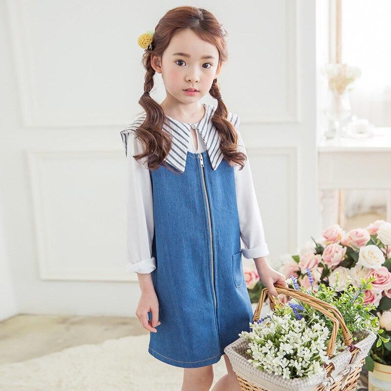 Girls Dresses Two pieces Clothes Set Ruffles White Blouse+Mermaid Denim Dress Baby Girl Clothing Sets Spring Korean Kids Fashion<br><br>Aliexpress