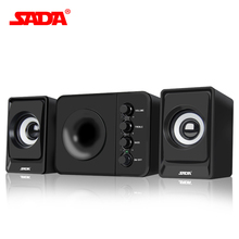 SADA D-205 Wired Mini Portable Combination speaker Laptop computer mobile Column computer speaker USB 2.1 Bass cannon PC Speaker(China)
