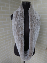 Genuine rex rabbit fur  circle scarf wrap cape  brown with white tips