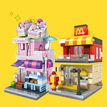 LOZ Business Street 4 Sets Bricks House Shops Stores Mini Architectures Buliding Blocks Kids Gifts Toys for Boys Girls 4 in One(China)