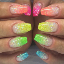 1g 6 Color DIY Beauty Glitter Phosphor 3d Glow Nail Art Fluorescent Luminous Neon Powder , for Nail Decorations SAYG01-06