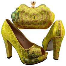 Latest Shoes and Bag Set Yellow Italian Ladies Shoe and Bag Set Decorated with Diamonds Women Shoe and Bag To Match for Parties