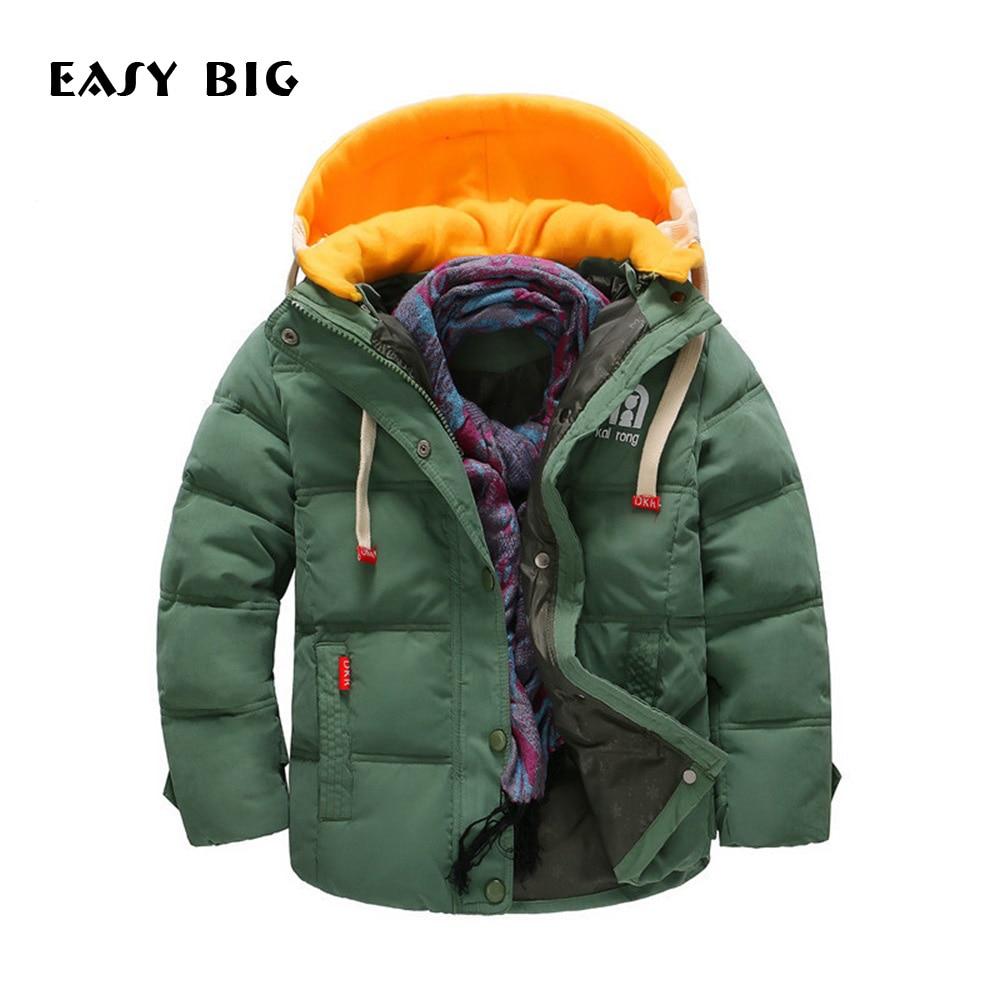 EASY BIG Winter Warm Hooded Children Down Jacket For Boys Children Parkas Jacket For Boys CC0140<br>