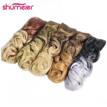 Shumeier 12Colors 60cm Long Wavy Colored Ombre Synthetic Hairpiece Clip In Hair Extensions for Women