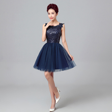 2017 new arrival elegant blue short prom dress for women ball gown lace up within sequins sexy back above knee tack sleeveless