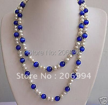 "Handmade 40"" Stylish white freshwater pearl blue opal long necklace pearl Jewelry fashion jewellery"