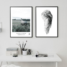 Angel Wings Posters And Prints Horse Wall Art Canvas Painting Wall Pictures For Living Room Nordic Decoration Poster Unframed(China)
