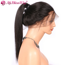 AliBlissWig 360 Human Hair Wigs For Black Women Yaki Straight 150 Density Natural Color Brazilian Remy Hair Lace Frontal Wig(China)
