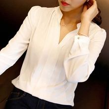 Buy New Fashion Women White Blouse Ladies Solid Elegant V-neck Blouses Long Sleeve OL Office Shirt for $4.81 in AliExpress store