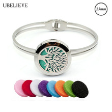 Hot Tree Of Life Aromatherapy Essential Oil Bangle Bracelet With Refill Pads Perfume Bracelet For Women Stainless Steel Jewelry(China)