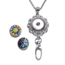 Flower Shape Working ID Holder Snaps Pendant Necklace 18mm Snap Button Jewelry Snaps Necklace For Snap Jewelry XL0085(China)