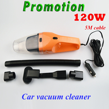 120W Portable Car Vacuum Cleaner Wet And Dry Dual Use Auto Cigarette Lighter Hepa Filter 12V  free shipping
