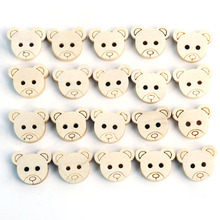 100 Pcs Little Teddy Bear Head Wooden Buttons DIY Craft Sewing Scrapbook New
