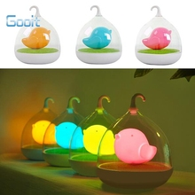 Creative Lovely Birdcage LED Night Light Rechargeable Touch Dimmer Desk table bird lights(China)