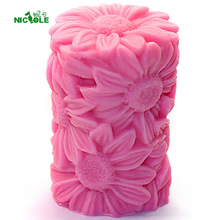 Sunflower Relief Cylinder Silicone Candle Mold DIY Handmade Soap Mould Craft Resin Clay Decorating Tool