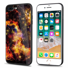 (5.5 inch) Space Universe Stars Style Tempered Glass Back Case for iPhone 8 Plus Cover Fashion Cases for iPhone8 Plus 8plus 8P(China)