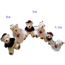 100pcs/lot free shipping 6CM MINI wedding dress bears plush stuffed toy couple bears doll/wedding gift/bag phone pendant t(China)