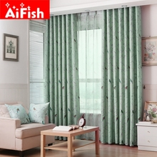 High-grade Rural Custom Products Sitting Room Bedroom Window Shading Birds Pattern Cortinas For Living Room Yarn Curtain wp128#2