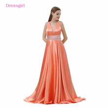 Orange Evening Dresses 2018 A-line Deep V-neck Beaded Backless Elegant Women Long Evening Gown Prom Dress Robe De Soiree(China)