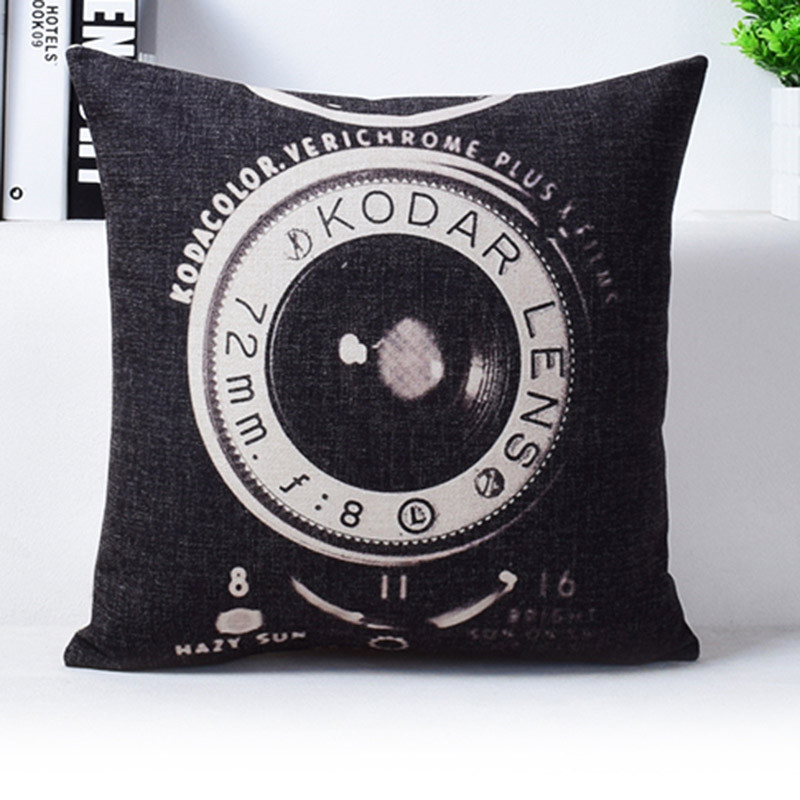 Vintage Camera Newspaper Cushion Cover Pillowcase The Golden Pavilion The Forbidden City Black and Beige Pillow Covers 5