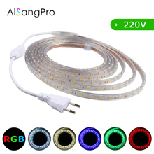 LED Strip AC 220V SMD 5050 RGB Flexible LED Light 1M/2M/3M/4M/5M/10M 60leds/M Home Decoration Lamps Waterproof with EU Plug