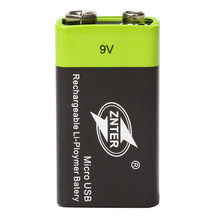 ZNTER ZNT-9V Lithium Battery For Toys Tools Universal 9V 400mAh Rechargeable Lithium Battery Support Micro USB Charging