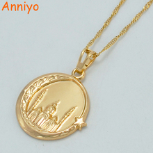Anniyo Islam Mosque Necklaces Moon and Stars Gold Color Muslims Mosque Worship Pendant Middle East Jewelry Arab #019604