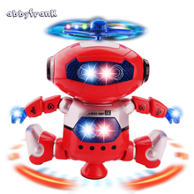 Abbyfrank Dancer Robot Electric Robot Pet Toy 360 Rotating Dance Musical Walk Lighten Electronic Toy For Children Kids Gift(China)