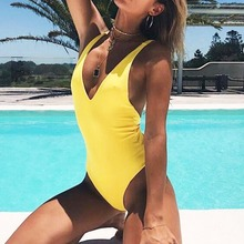 Buy Leopard Bather 2018 New Sexy high cut leg one piece swimsuit Backless women Swimwear Bathing suit swim wear female Monokini K693