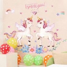 Cute Unicorn Flamingo Wall Stickers for Kids Rooms Girls Bedroom Decor DIY Poster Cartoon Animal Wallpaper
