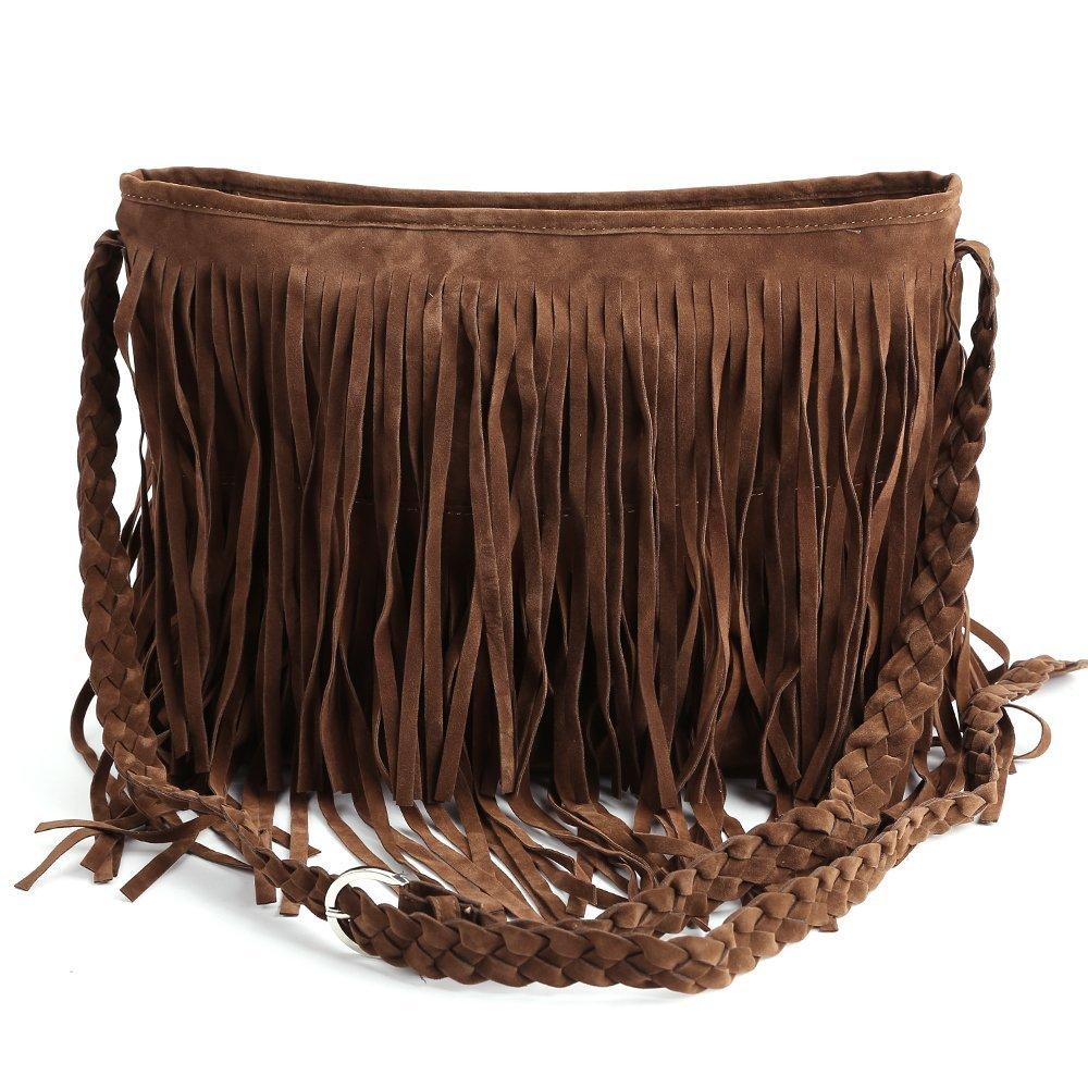 Wholesale 5*Fringe Tassel Faux Suede Shoulder Messenger Bag Women Handbag Brown<br><br>Aliexpress