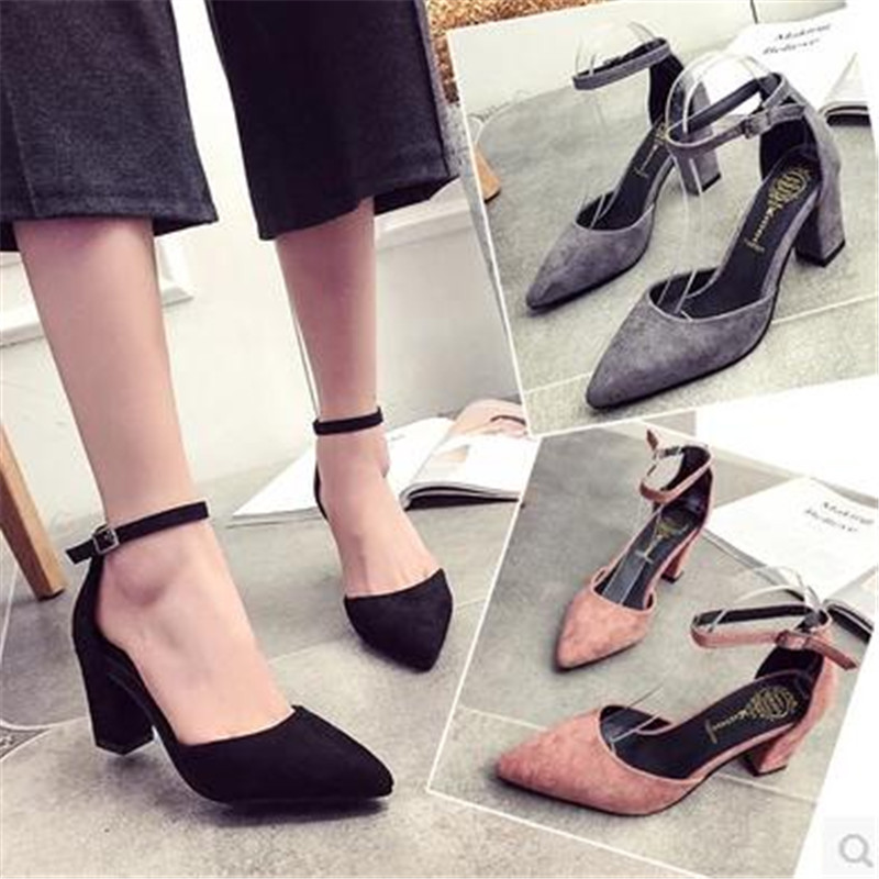 2017 thick heel pointed toe fashion womens shoes button covering sandals toe cap womens high-heeled shoes wedding shoes <br><br>Aliexpress