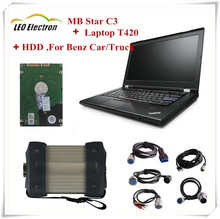 2017 newest MB STAR C3 multiplexer+ mb star c3 software HDD+ mb c3 Laptop T420(4G I5)for Mercedes Car/truck star diagnosis c3
