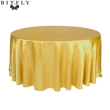305cm Round Table Cloth Cover Satin Tablecloth Waterproof Oilproof Wedding Party Restaurant Banquet Home Decoration Pink/Gold
