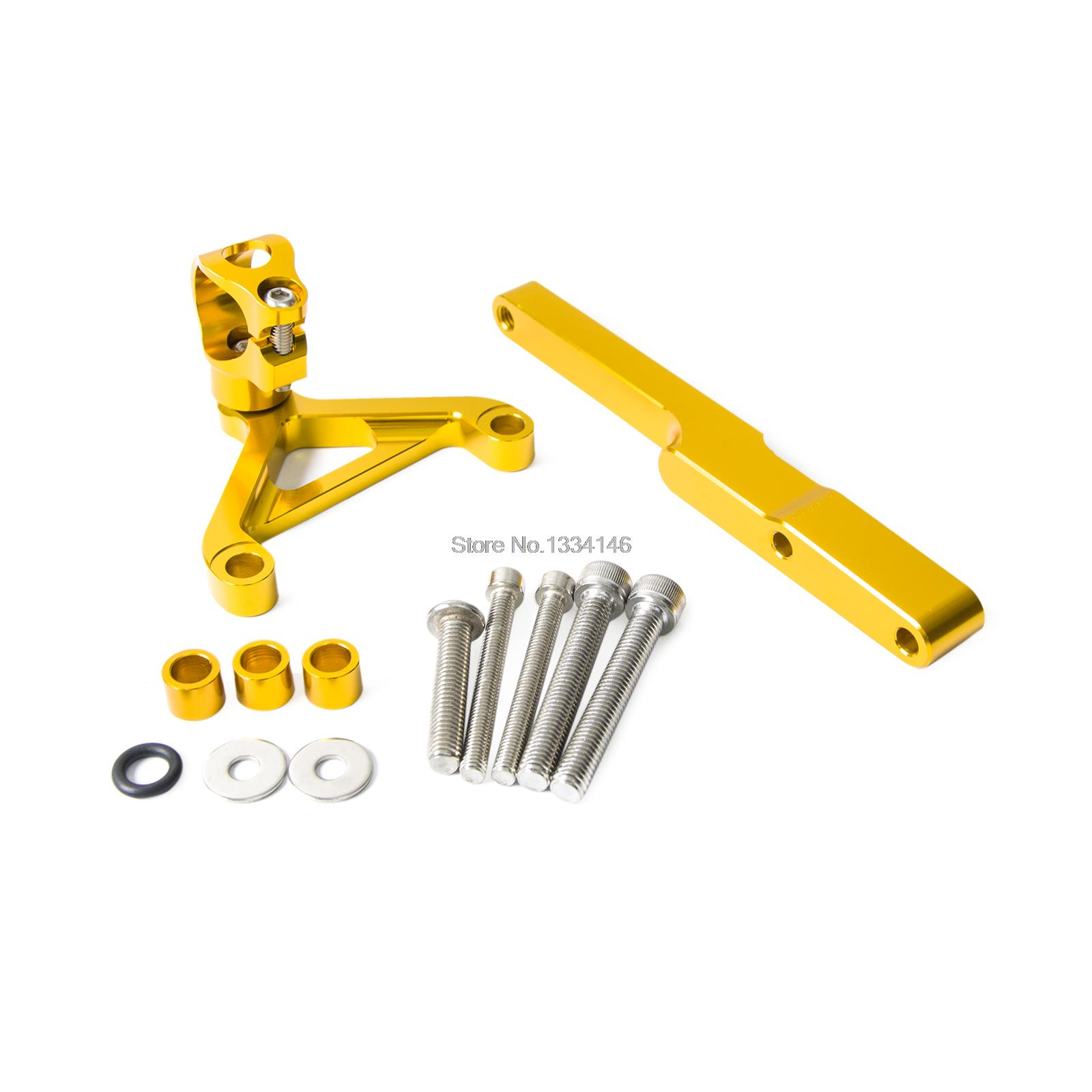 Gold CNC Steering Damper Mounting Kit For Honda CB1000R 2008-2012 2013 2014 2015<br>