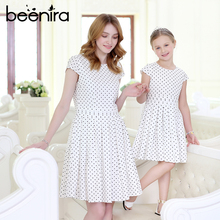 Beenira Family Dresses 2017 New Summer Style Children Dots Pattern Princess Dress Design For Mother And Baby Short-Sleeve Dress