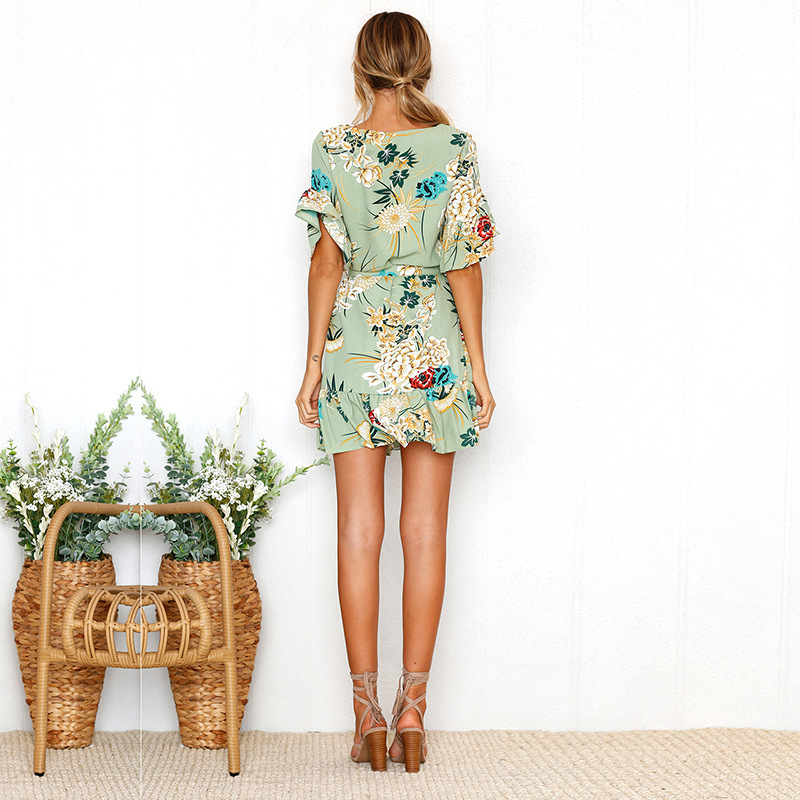 Lossky Summer Women Beach Dress 2018 Bohemian Floral Print Boho Dress O-Neck Short Sleeve Ruffle Mini Chiffon Dress With Belt 18